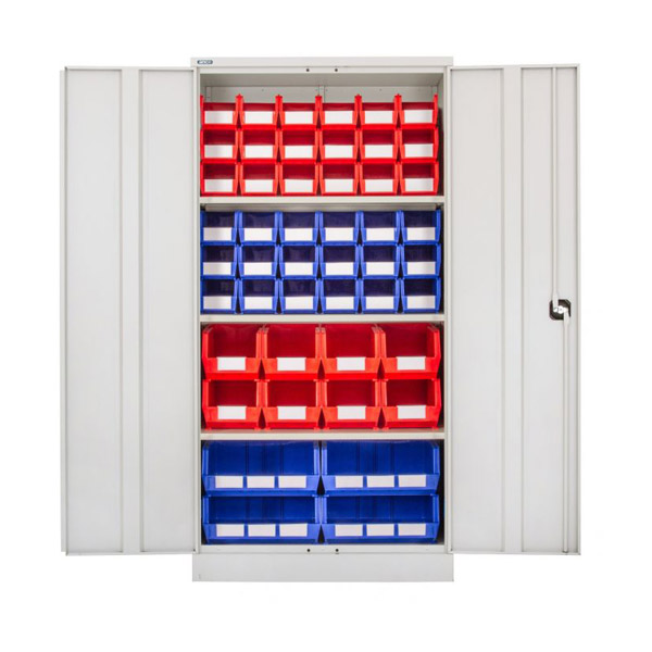 Industrial Steel Cupboards with HD Plastic Bins