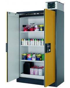 120cm wide, Classic Doors, Shelf Pack, Warning Yellow (Shown with optional recirculating air filter system)