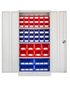 CDGG/18/F - Steel Cupboard inc. Storage Bins - 1829h x 914w x 457d