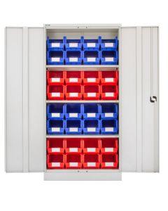 CDGG/18/G - Steel Cupboard inc. Storage Bins - 1829h x 914w x 457d