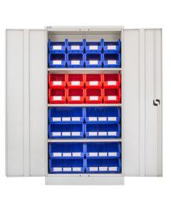 CDGG/18/H - Steel Cupboard inc. Storage Bins - 1829h x 914w x 457d