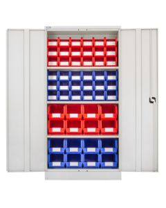 CDGG/18/K - Steel Cupboard inc. Storage Bins - 1829h x 914w x 457d