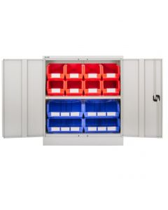 CDGG/10/B - Steel Cupboard inc. Storage Bins - 1016h x 914w x 457d