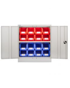 CDGG/10/C - Steel Cupboard inc. Storage Bins - 1016h x 914w x 457d