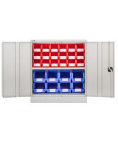 CDGG/10/D - Steel Cupboard inc. Storage Bins - 1016h x 914w x 457d