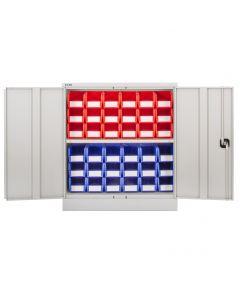 CDGG/10/E - Steel Cupboard inc. Storage Bins - 1016h x 914w x 457d