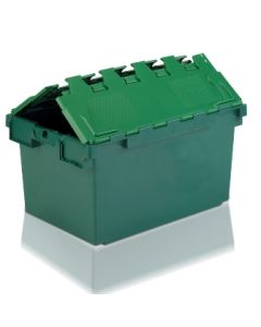 ALC7146368G - Attached Lid Container 710x460x368H - Two Tone Green