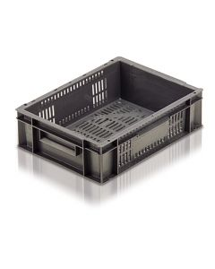 EC4030118V - Euro Container 400x300x118H (mm) Ventilated Base and Sides - Grey