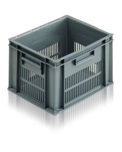EC4030235V - Euro Container 400x300x235H (mm) Ventilated Sides and Solid Base - Grey