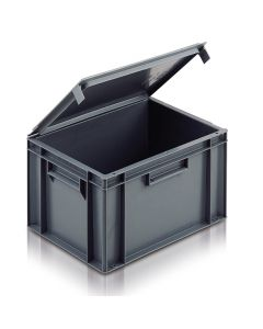 EC4030246IL - Euro Container with Integrated Lid 400x300x246H (mm) Solid Base and Sides - Grey