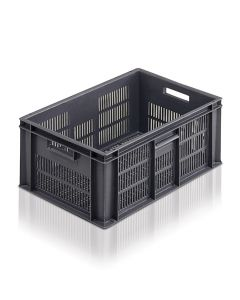 EC6040235V - Euro Container 600x400x235H (mm) Ventilated Base and Sides - Grey
