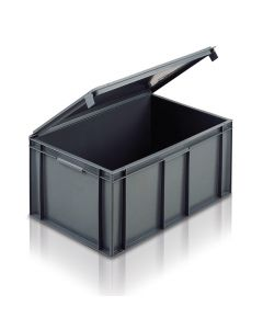 EC6040291IL - Euro Container with Integrated Lid 600x400x291H (mm) Solid Base and Sides - Grey
