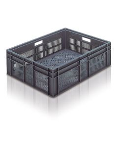 EC8060235V - Euro Container 800x600x235H (mm) Ventilated Base and Sides - Grey