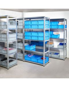 Economy Galvanised Shelving. Max load 200kg per level