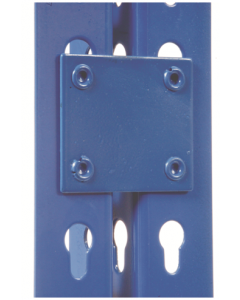Two Blue Heavy Duty Shelf Sides with Blue Tie Plate.