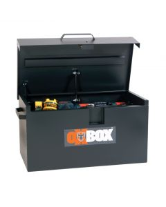 Black OxBox Storage Box with Lid Open Displaying Tools.