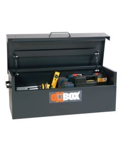 Long Black OxBox Storage Box with Lid Open Displaying Tools.