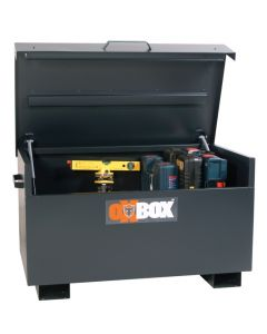 Deep Black OxBox Storage Box with Lid Open Displaying Stored Tools.