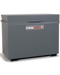 StrongBank Site Box with Lid Closed. Showing Side Handles, Opening Handle and Base Feet. Product Dimensions:  1325mm wide x 700mm deep x 970mm high
