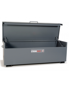 StrongBank Site Box with Lid Opening Displaying Side Handles, Lid Handle and Base Feet. Product Dimensions: 1935mm wide x 700mm deep x 665mm high