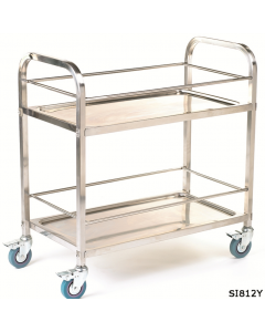Stainless Steel Trolley - SI812Y - 2 Shelves with rod surround