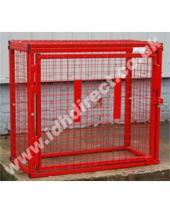 Red Square Mesh Cage with Door Closed.