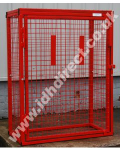 Tall Red Mesh Cage with Door Closed/