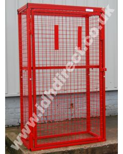 Tall and Wide Red Mesh Cage with Door Closed.