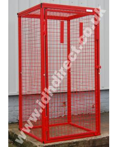 Tall and Deep Red Mesh Cage with Door Closed.