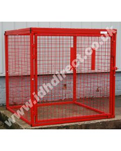 Wide and Deep Square Red Mesh Cage with Door Closed.