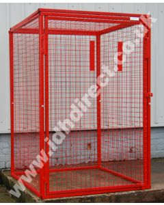 Tall, Wide and Deep Red Mesh Cage with Door Closed.