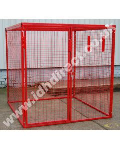 Tall, Wide and Deep Red Square Mesh Cage - Door Closed.