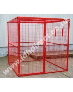 Extra Large Red Mesh Cage. Door Closed.