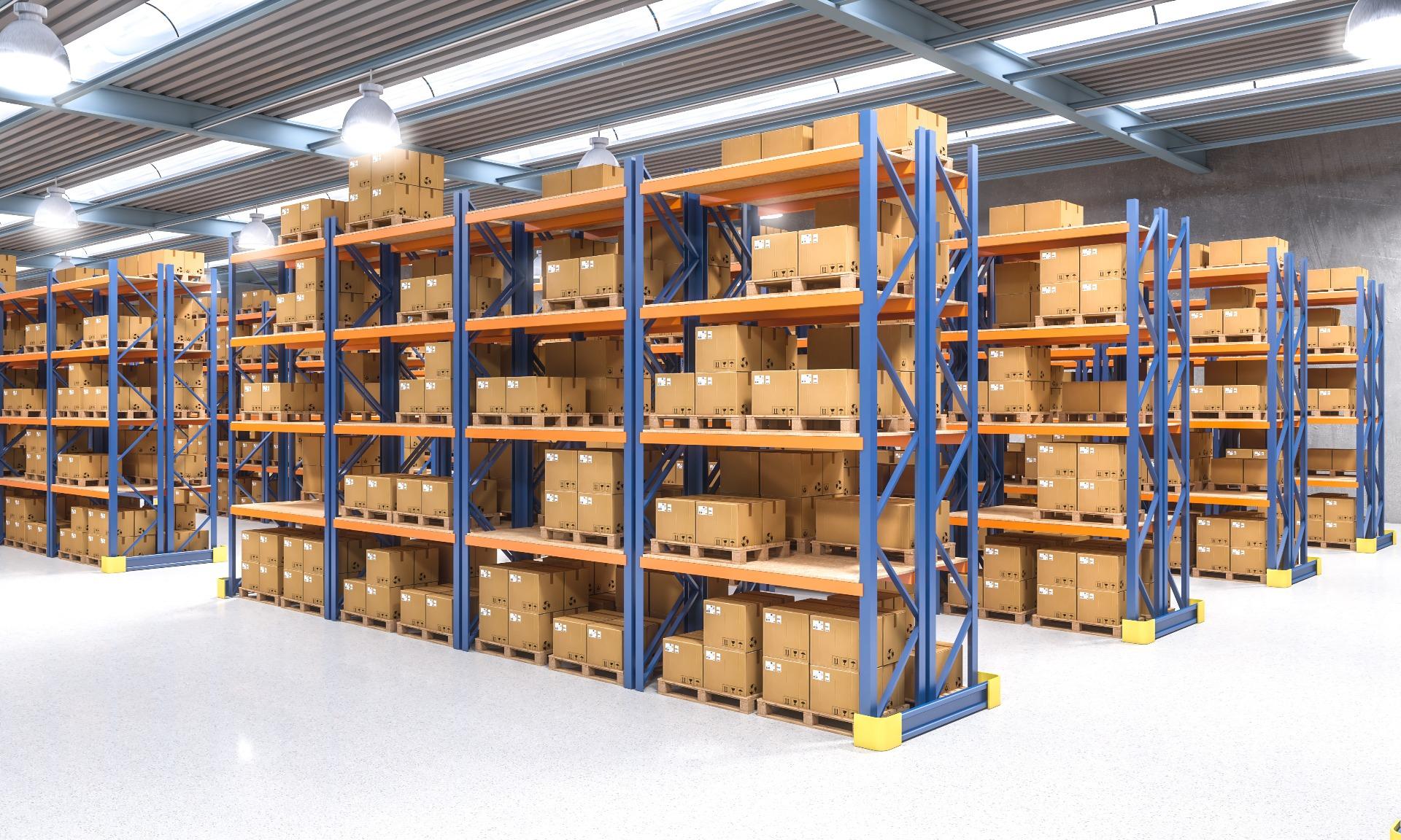 Heavy duty shelving in warehouse facility